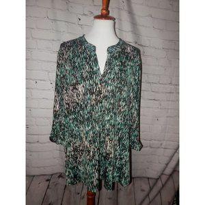 Ava & Grace Woman Top 2X Green Black Knit